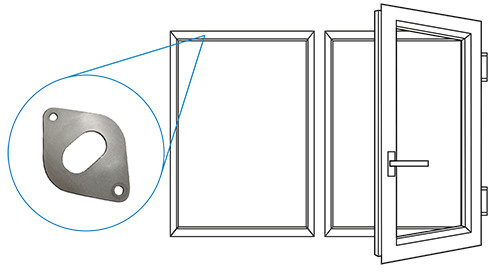 The sliding plates or rails reduce the friction of the axial door hinges.